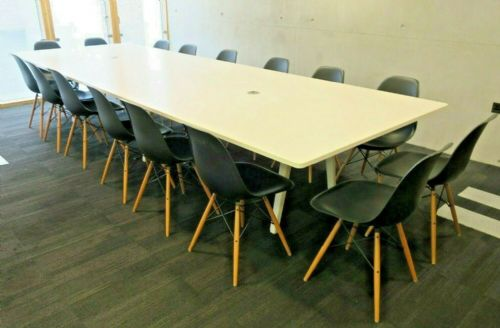Vitra 4m x 1.4m White Modern Boardroom Conference Table 16 x Vitra Black Chairs